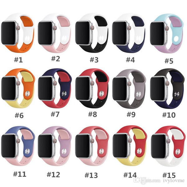 Dual colors Sport Watch Band For Apple Watch 38mm 40mm 42mm 44mm Replacement Soft Silicone Strap Compatible For IWatch Series 4/3/2/1