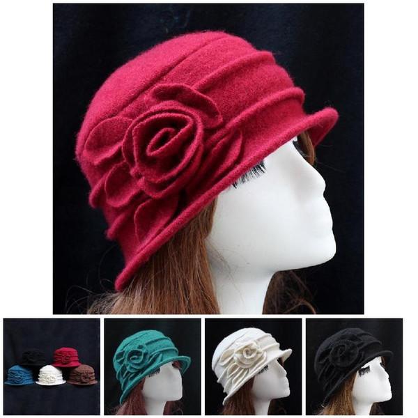 Moda Kadınlar Yün Floppy Fedora Şapka Sonbahar Kış Katı Sıcak anne Çiçek Cap SSA-19ING