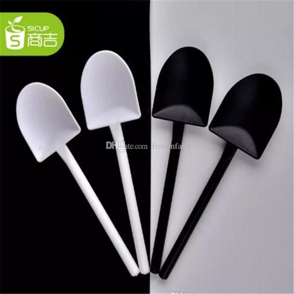 5000 piezas desechables en maceta puro negro blanco helado pala pala pequeña maceta en maceta cuchara envío gratis a48-a54