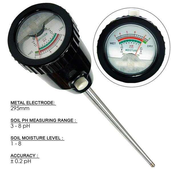 FreeshippingSol Ph Humidimètre Testeur Analyseur de culture hydroponique Longue Qualité De L'eau Usines Humidité Détecteur De Sol 3-8 Ph 1-8 Humidité