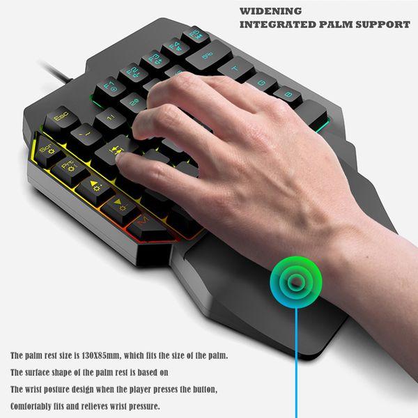 Con una sola mano teclado para juegos mecánicos 39 Llaves USB puerto del teclado ergonómico VDX99