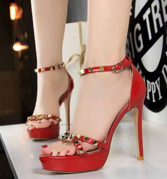 Chaussures Femme Cuir Verni Bout Ouvert Plateforme Stiletto Super Talon Haut Club Chaussures