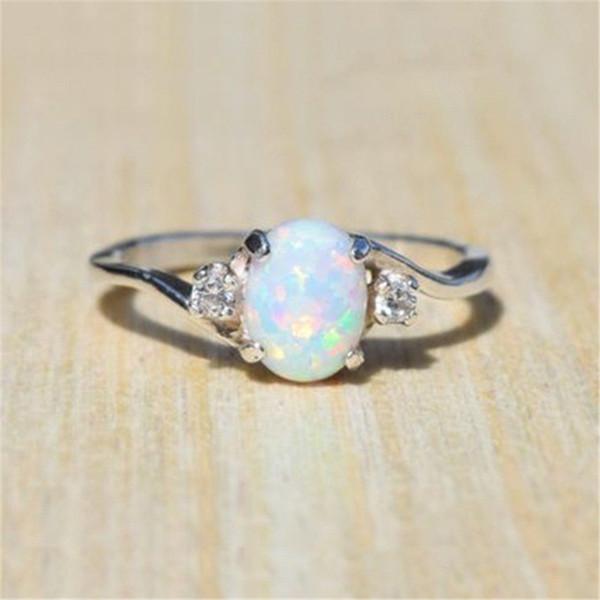 Nuevo diseño de anillo de ópalo de fuego blanco joyería de moda mujer anillos de circón de color plateado para mujer 5 colores
