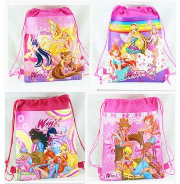 12Pcs Hot Winx Club Drawstring Boys Girls Cartoon School Bag Children Printing School Backpacks Gifts for Birthday Party Bags