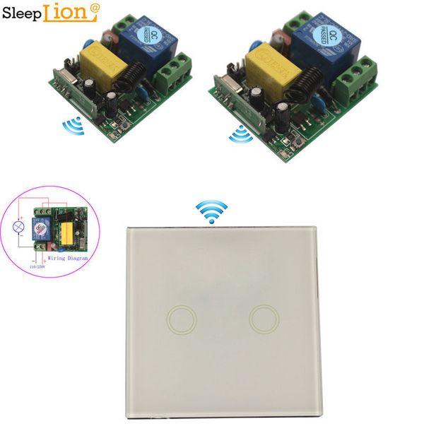 Touch Sensor 220V Wireless Relay telecomando Switch Switch 110V 1CH della luce della lampada temperato Pannello di controllo di vetro ON OFF universale