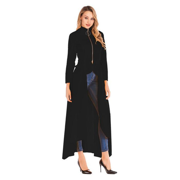 fashion casual women clothing designer coats trench coats zipper irregularity spring stand collar long sleeve