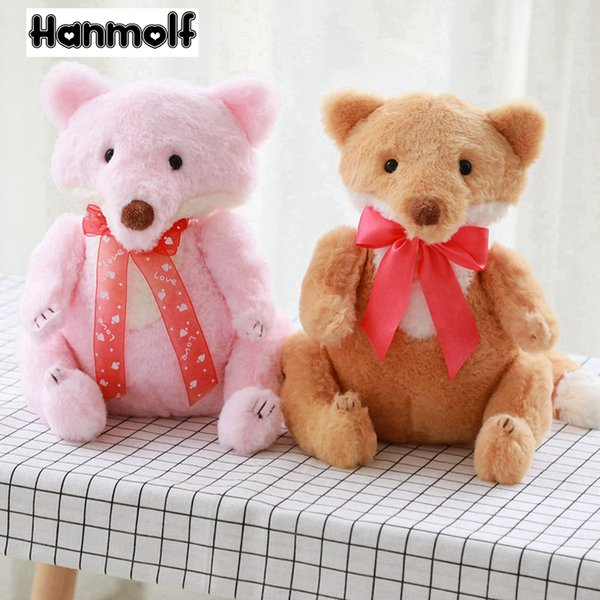 Adorable Fox Plush Toy Sitting Couple Foxes Stain Bow Knot Stuffed Animal Doll Pink/Brown Plushie Kids Girls Gift 28cm