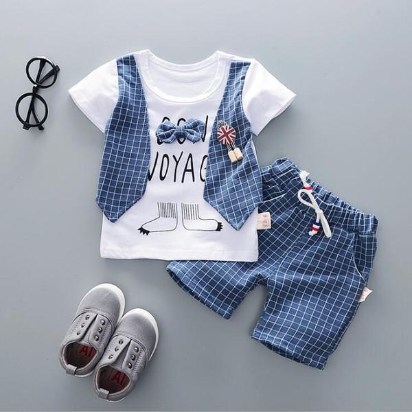 2019 Primavera y otoño estilo ropa infantil juegos de ropa para bebés boy Algodón manga corta 2 unids traje bebé niño Algodón ropa de diseñador de ropa para niños