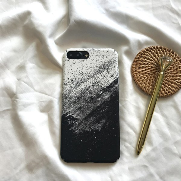 Ink Painting Phone Case Original Black White For Iphone Xs Max Xr 6 7 8 X Plus PC Matte Hard Cell Phone Cases