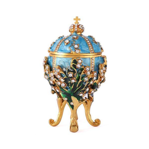 Qifu Chegam Novas Decoração Para Casa Fabergé Ovo 1898 Lírios Do Vale Ovo Réplica Para A Decoração Home. J190712