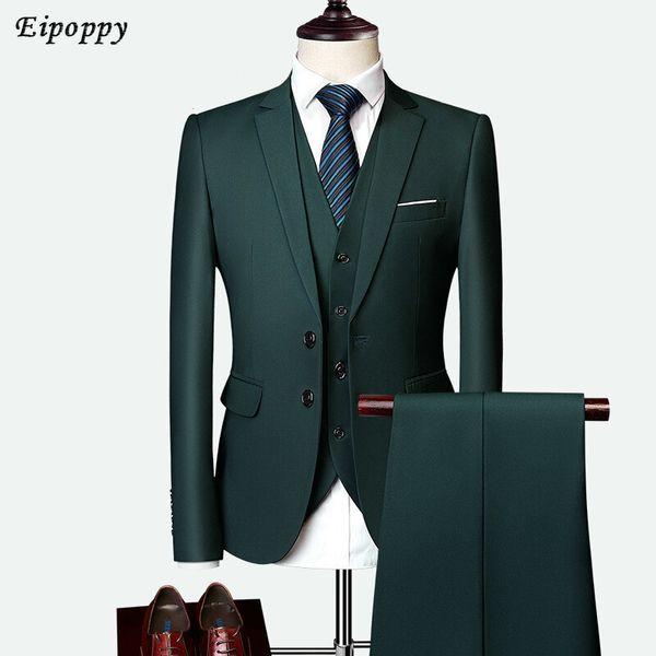 Abbigliamento da uomo Completo da uomo Completo da uomo da lavoro a tre pezzi a due bottoni, colore solido Slim, abito da sposa, stile Inghilterra, dieci colori