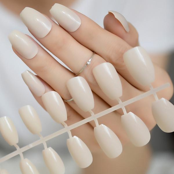 Albaricoque Color Ataúd Bailarina Uñas postizas falsas Beige Caqui Forma plana Cubierta completa Fuax Ongles Mujeres Maquillaje Herramienta de manicura