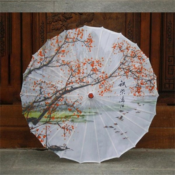 Chuangge Olied Paper Umbrella Rain Women Small Handmade Long Handle Bamboo a prueba de viento 24 Costillas Paraguas chino Japonés T8190619