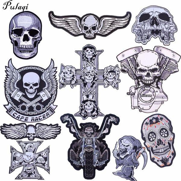 Pulaqi Punk Skull Patch Biker Rock Motocicleta Bordada Grande Parches Para Ropa Chaqueta Grandes Alas Patch Back Badge H