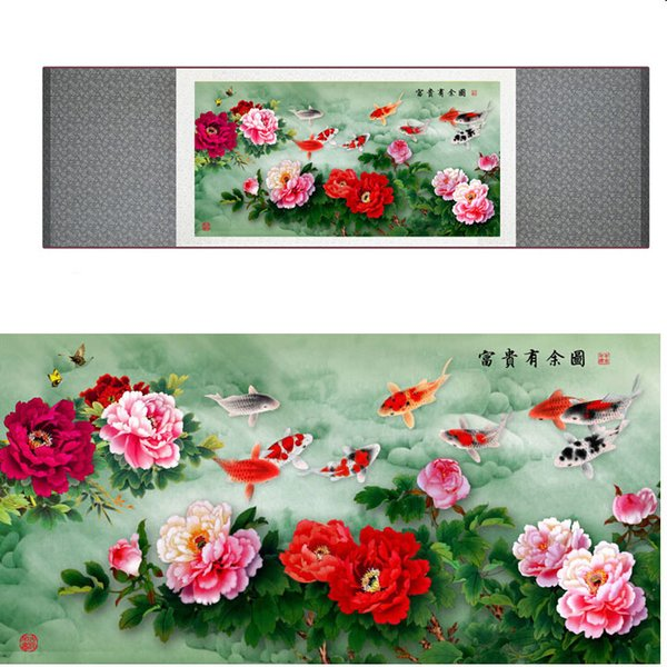 Peony Flower And Fish Paiting Traditional Chinese Art Painting Silk Scroll Art Painting