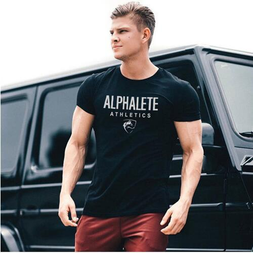 New Trend Casual Men Short Sleeve T-Shirt Summer Fashion Gyms Fitness Bodybuilding T Shirt Male Slim Tees Tops Clothing