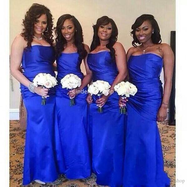 Royal Blue African Mermaid Brautjungfernkleider 2019 Neueste Liebsten Bodycorn Falten Einfache Hochzeitsgäste Kleider Günstige Trauzeugin Kleider