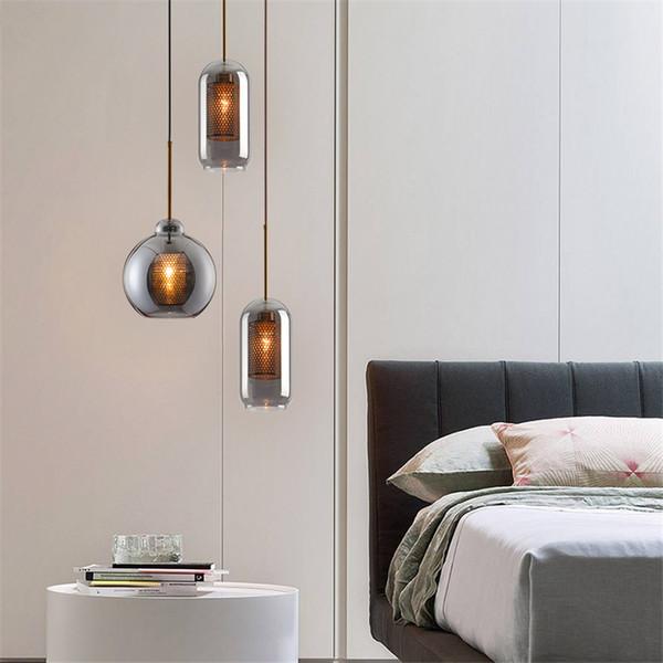 Modern Smoke Grey Glass Pendant Lights Bedroom Bedside Restaurant Living  Dining Table Hanging Lamps Design Hotel Room Fixtures Clear Glass Pendant  ...