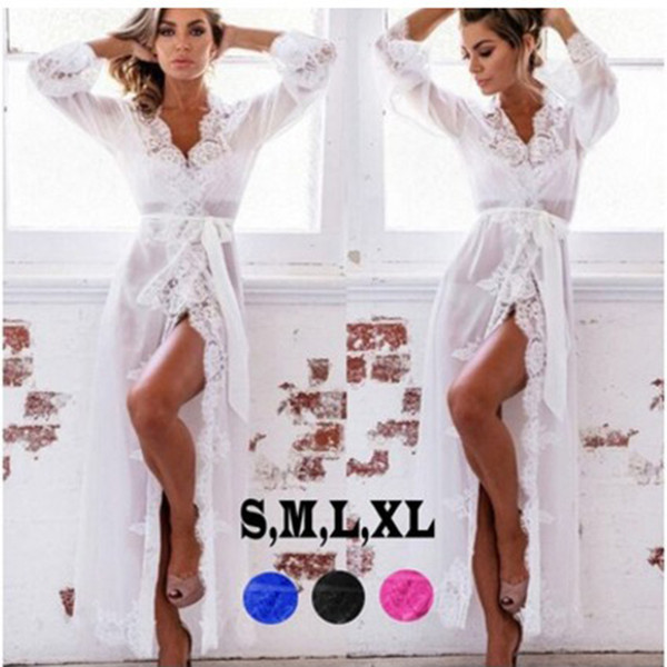 Women Robes Lace Nightgowns Sleepwear Nightdress Women's Sexy Heigh Quality Women Mesh Lace Bathrobe Waistband Long Pajamas