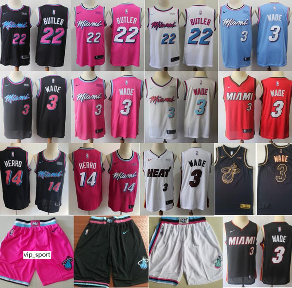 more photos 91479 d6c00 2019 Miami Vice Heat Basketball Dwyane Wade Jersey 3 Jimmy Butler Jerseys  22 Tyler Herro City Earned Edition Black White Pink Men Shorts Pant From ...