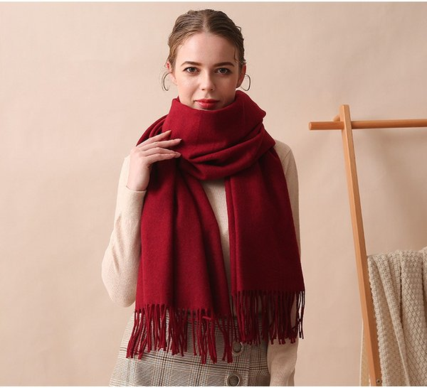 Maxi New 13 colors Wool scarf female high-grade classic thick solid tassel wool shawl, warm scarf for autumn and winter
