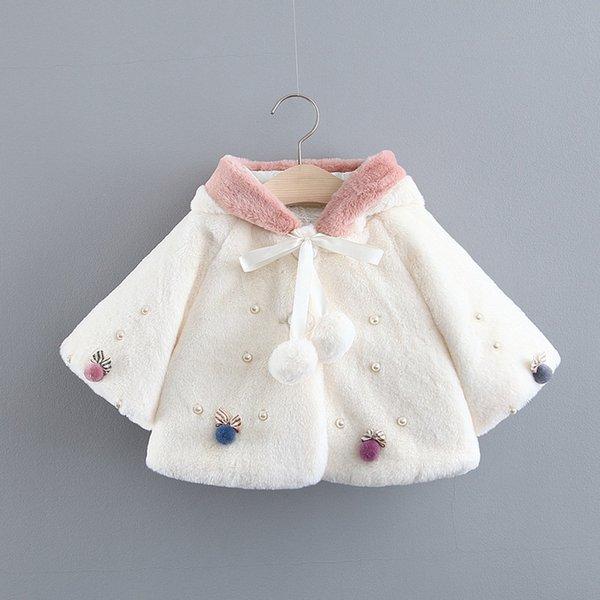KIDS BABY GIRL FAUX FUR WARM WINTER RABBIT EARS HOODED CAPE CLOAK COAT SUPER