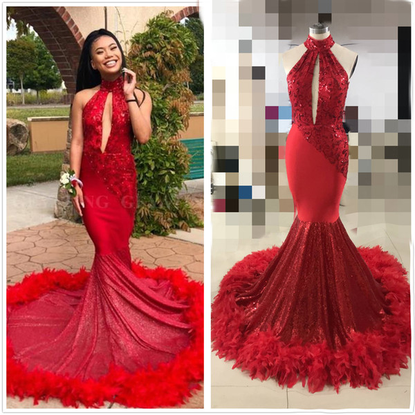 Sexy Mermaid Red Feather Prom Dress with Train Sparkly Sequins Appliques Cut-out High Neck African cocktail party dresses robe de soiree