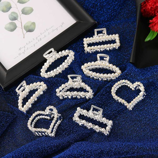 1 unid mujeres perlas de cristal de pelo cangrejo rhinestone pinzas para el cabello nupcial boda accesorios para el cabello headwear herramienta de peinado joyería