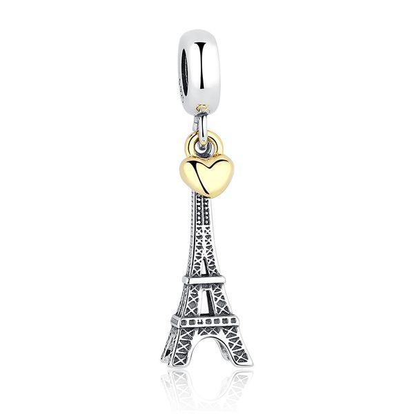 PARIS EIFFEL TOWER Colgante Charm Gold Heart Beads Fit Pandora Pulseras Collares