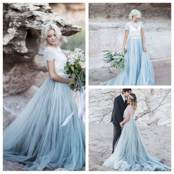 Discount Exquisite White Dusty Blue Wedding