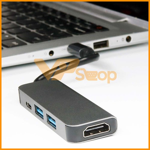 Concentrador USB 4 en 1 DEX Docking Station MACBOOK POR para Samsung iPhone Tipo C a HDMI Convertidor USB a RJ45 Puerto de red