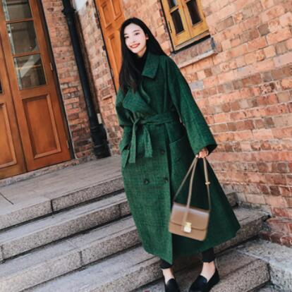 2019 Autumn Double Breasted Notech Loose Big Size Long Type Green Plaid Women Woolen Coat DC322