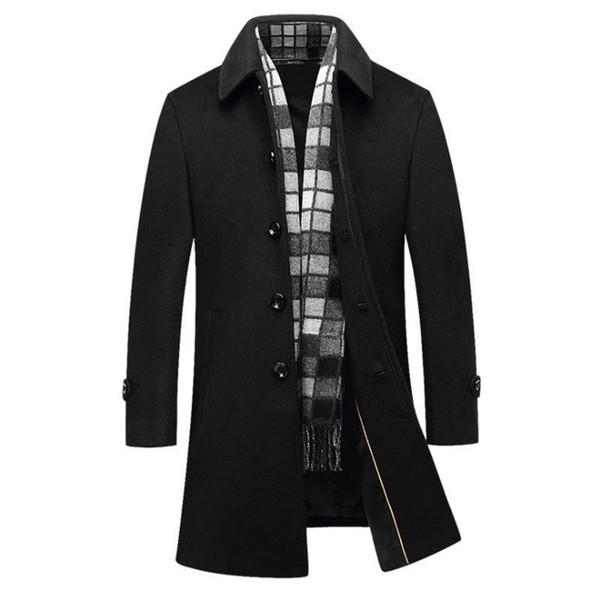 Autunno inverno cappotto di lana da uomo d'affari collo sciarpa casuale giacca lunga giacca a vento monopetto cappotto di lana nera maschio 4XL