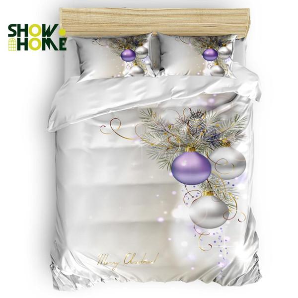 Capa de edredão SHOWHOME Merry ChristmasDuvet Cover Set Set 4 peças para camas