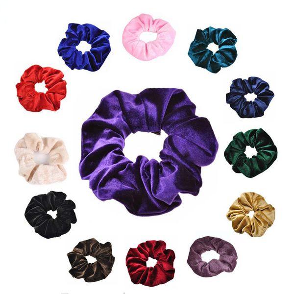 Women Velvet Headband Pure Color Head Ring Simple Hair Ties Headdress Flower Pony Tails Holder Hair Jewelry