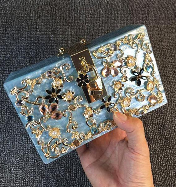 factory sales handbags factory Handmade exquisite Diamond Ladies Handbag carved acrylic mini small package of high-end carved women bags