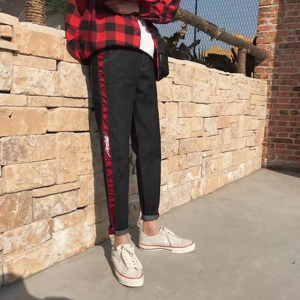 Spring Men's Trousers Korean Edition Trend 2019 New Style Nine Points Jeans Slim and Small Feet Nine Points
