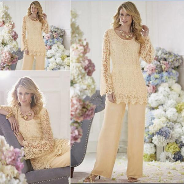 Gelin Damat Pant Suit Elbise Modest Dantel Uzun Kollu Anne Yaban Bacaklar Anne Tulumlar Gevşek Anne Elbise Custom Made Artı boyutu