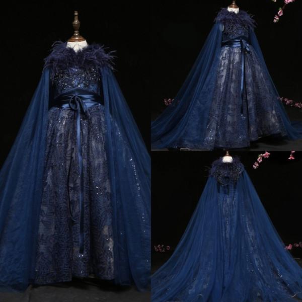 Azul marinho Vestidos Da Menina de Flor Com Envoltórios Lace Lantejoulas Feather Lace Trajes de Palco Meninas Pageant Vestidos Cosplay Vestido de Noite Robes De Fête