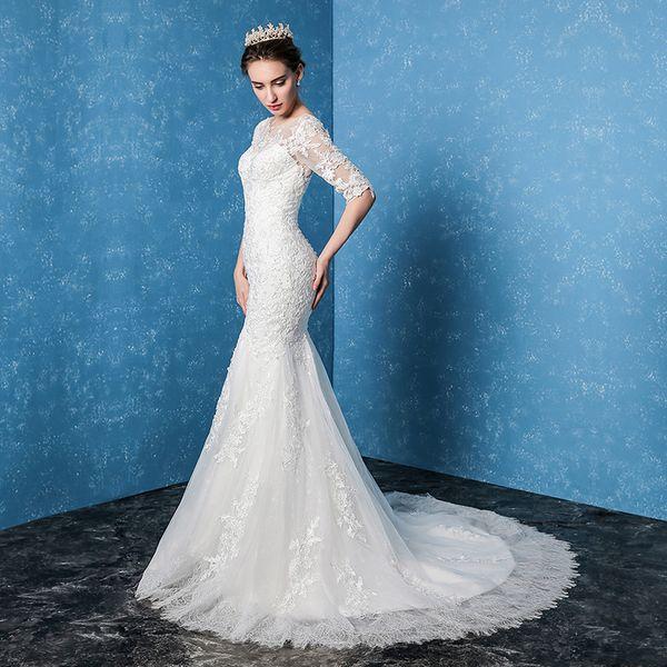 New Winter Bride's French Long Sleeve Fishtail Hepburn Style Revolutionary Net Red Dresses
