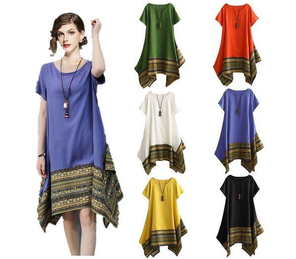 2019 Loose Plus Size Women\'S Comfortable Cotton And Linen Patchwork Short  Sleeves Irregular Slimming Dress Green Dress Juniors Long Dress Striped  From ...