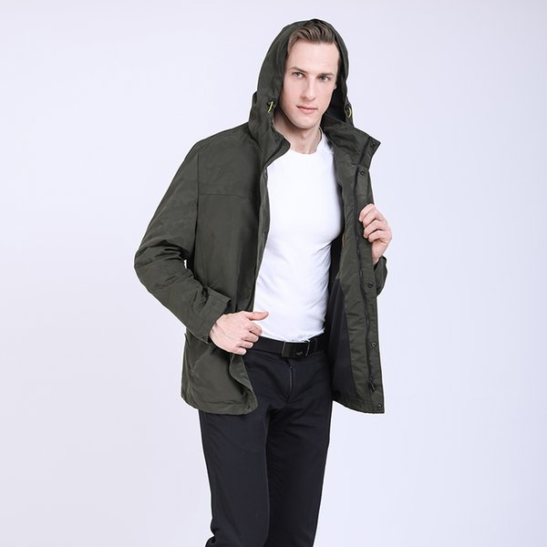 2019 Men Spring Jacket Casual Trench Coat Windbreaker Mens Parka Homme Camouflage Jacket Coats Detachable Hood Outwear Plus Size