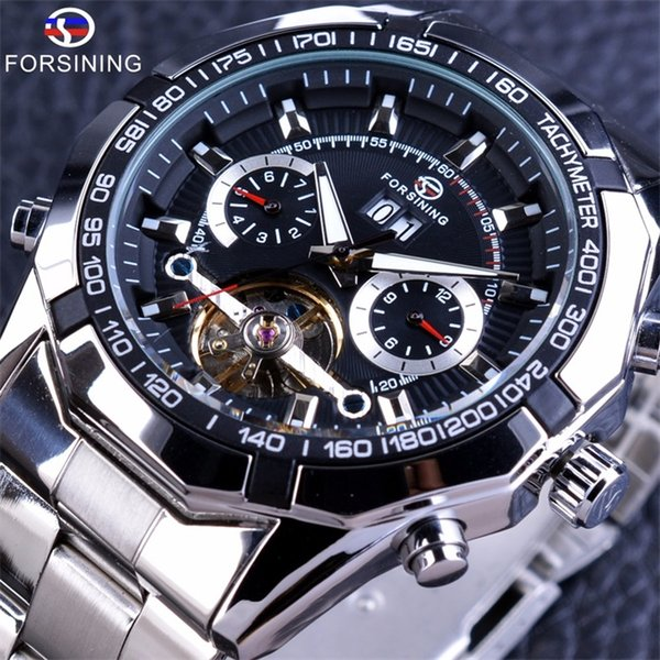 Forsining Tourbillon Design Automatic Watch Military Steampunk Luxury Mens Watches Calendar Display Silver Stainless Steel Brand Men Watche