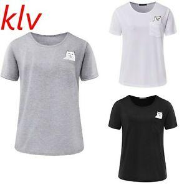Mulheres Verão Estilo T Shirt Impressão Dedo Médio PoMenet Cat Short SMenve