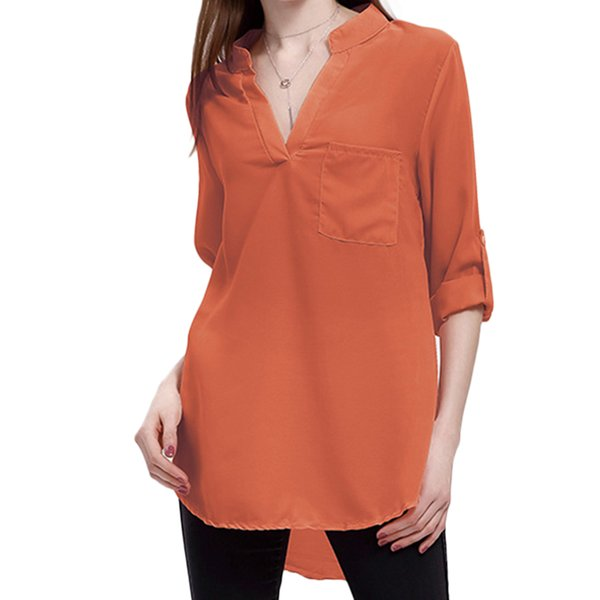 Sexy Women Casual Long Sleeve Shirts Fashion V Neck Solid Color Blouse Office Lady Daily Wear Loose Chiffon Blouse Tops