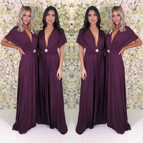 Vestido de fiesta de las mujeres largas de color púrpura oscuro 2019 Barato verano Boho Cap manga corta cuello en V largo damas de honor vestidos de fiesta de noche yl57-2103
