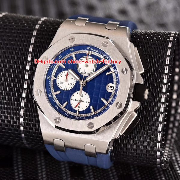 5 Style Topselling High Quality Watch 44mm Offshore 26400SO.OO.A002CA.01 Stainless Steel Rubber Bands Quartz Chronograph Workin Mens Watches