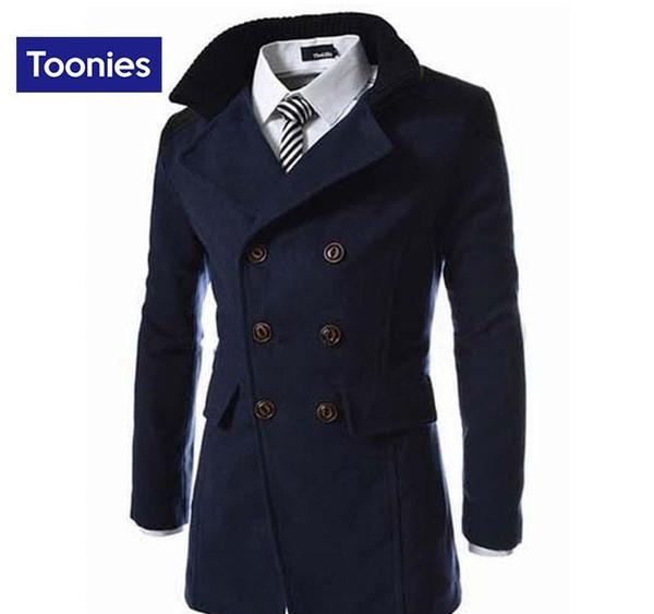 도매 - 2017 패션 가을 겨울 고품질 재킷 솔리드 남자의 코트 더블 브레스트 남자 슬림 모직 코트 브랜드 의류 윈드 브레이커