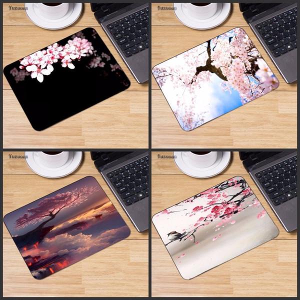Yuzuoan en caoutchouc de jeu tapis de souris rose de fleur d'impression portable tapis de souris de petite taille ordinateur portable Table Mat Tapis de souris