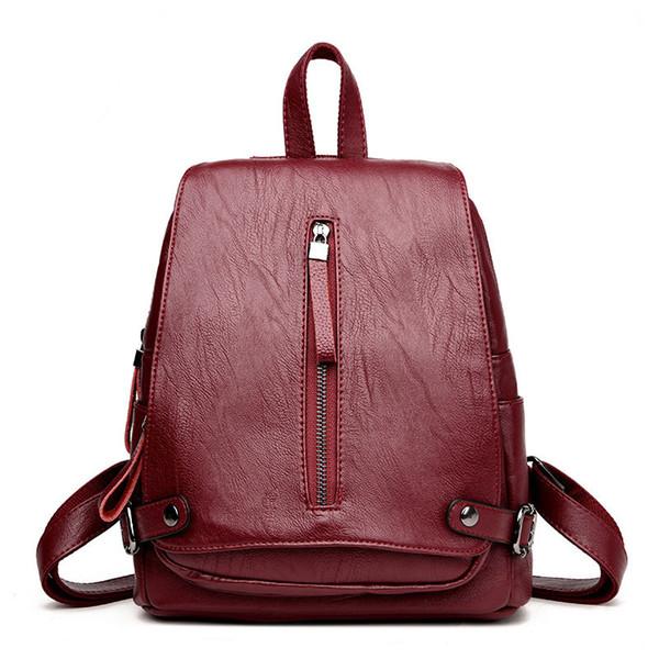 Mujeres escolares cuero Bolsas genuino Adolescentes Niñas Para Bolsos Mochila Coreana Mochilas Mochila de Vintage 2019 8xZdUO